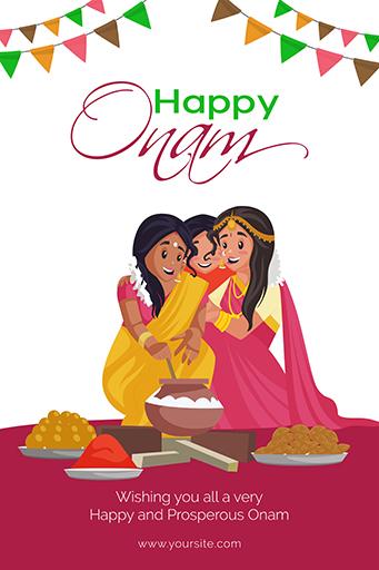 Happy Onam Festival Illustration Flyer Design Template