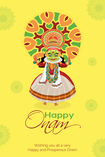 Happy Onam Festival Flyer Template on a Colorful Background