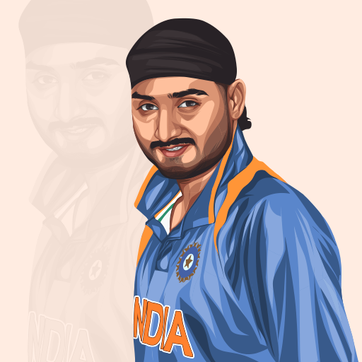 Indian Cricketer Harbhajan Singh Vector Portrait Illustration