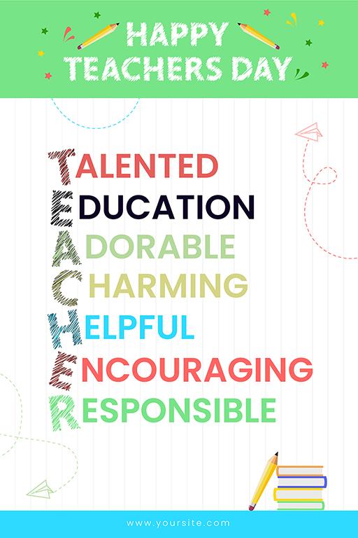 Happy Teacher's Day flat banner design template