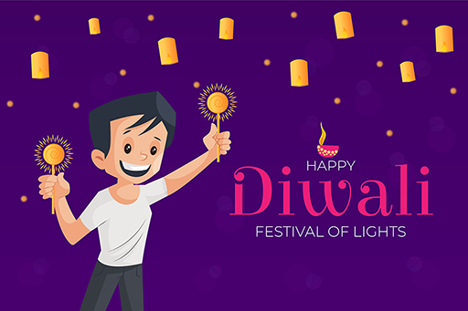 Boy celebrating festival with sparkles and lights on Happy Diwali banner