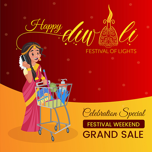 Happy Diwali banner design with a woman holding atm and with a shopping cart for grand sale