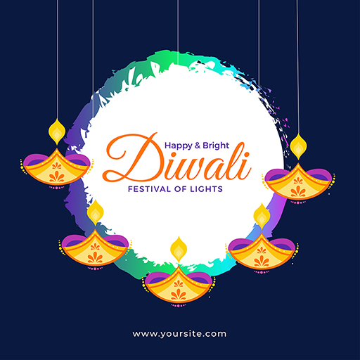 Happy Diwali banner design with festival of lights and colorful burning lamps