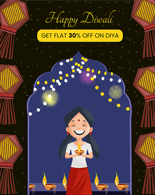 Happy Diwali banner design with a girl holding a lamp in hand