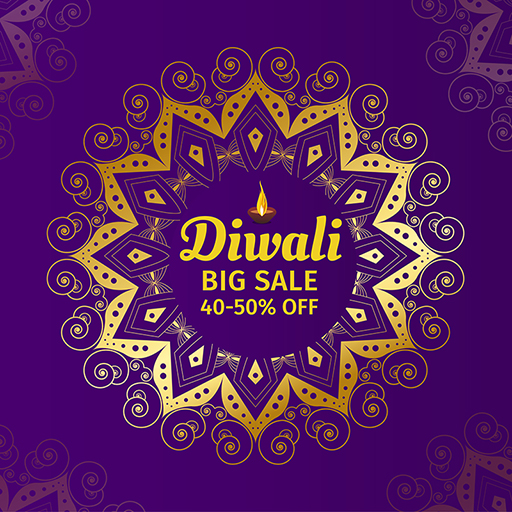 Banner design of Happy Diwali with lamps and big sale festival offer