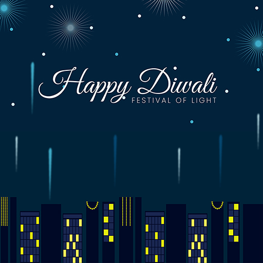 Happy Diwali banner design with festival of lights on a blue background