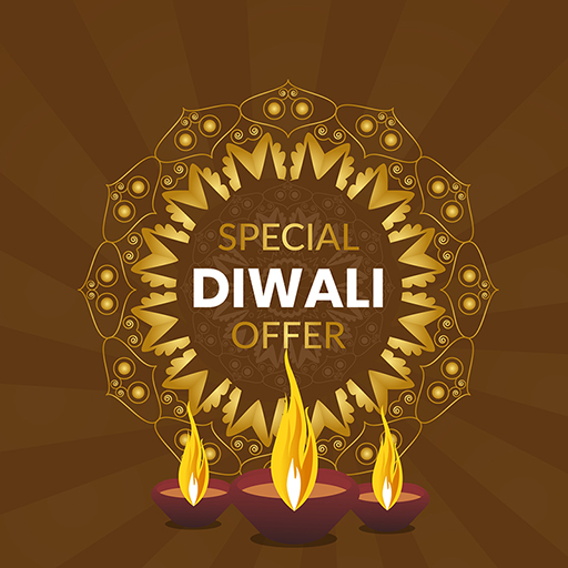 Happy Diwali banner design with lamps and special festival offer