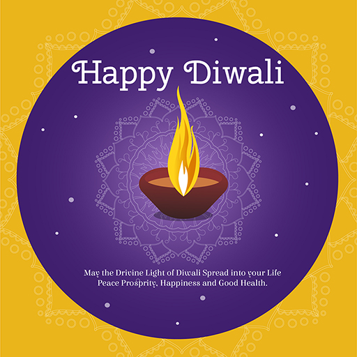 Happy Diwali banner design template with a lamp