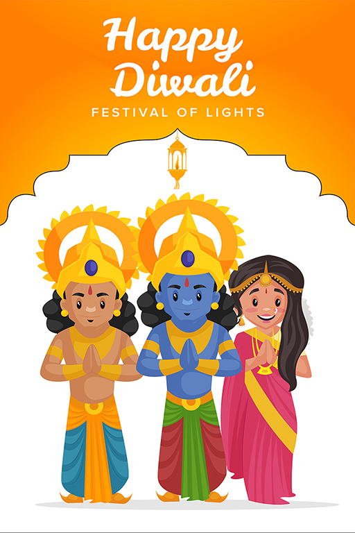 Happy Diwali banner design with Lord Rama, Lakshman and Goddess Sita