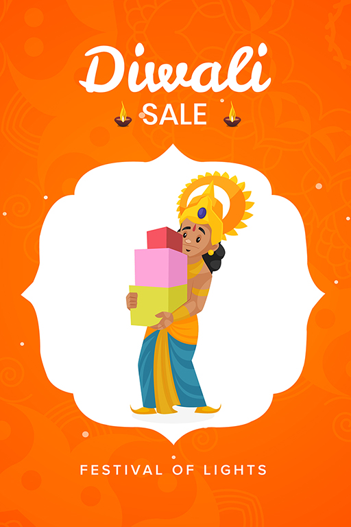 Happy Diwali banner design with Lord Rama holding festival gifts
