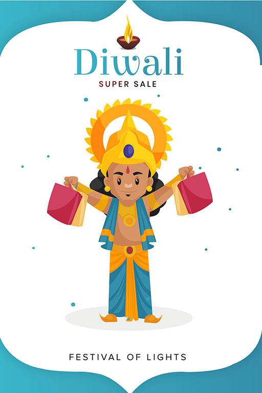 Banner design of Happy Diwali with Lord Rama holding festival gifts in hands