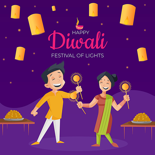 Children celebrating festival with sparkles and sweets with Happy Diwali banner design