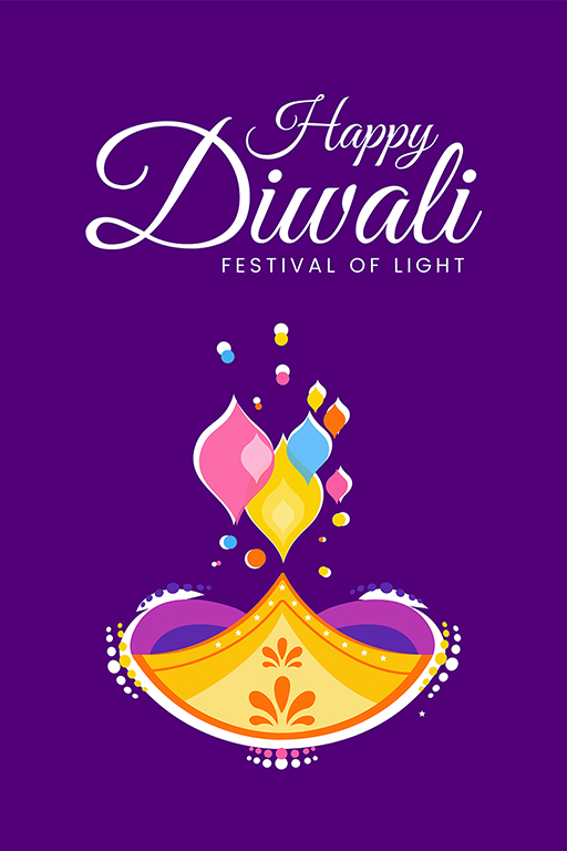 Happy Diwali banner design template with the festival of lights and colorful lamp
