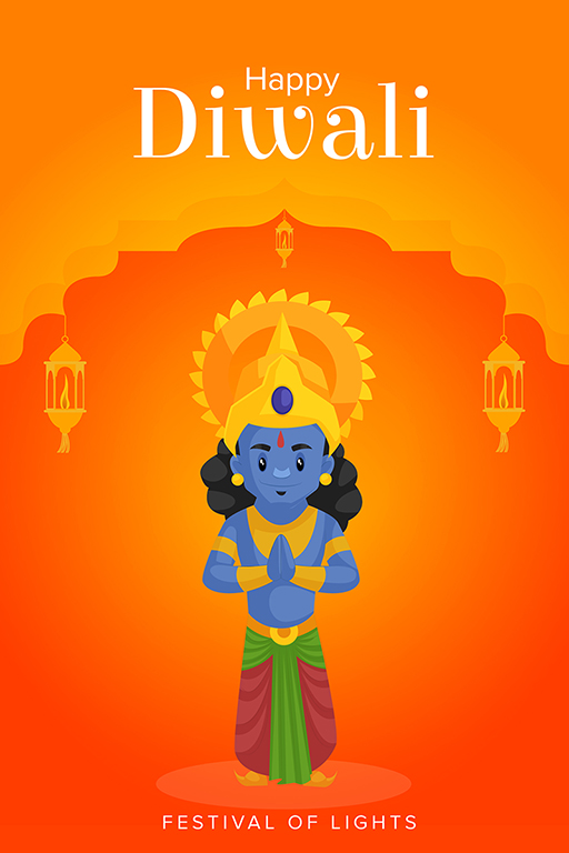 Happy Diwali banner design template Lord Rama with greet hands