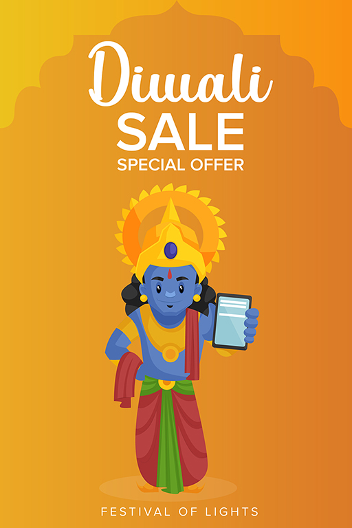 Happy Diwali banner design with Lord Rama showing special offer on mobile phones