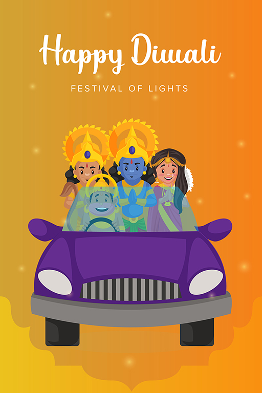 Banner design template of Happy Diwali festival with god and goddess