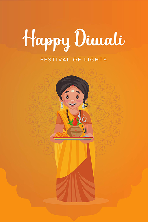 Happy Diwali banner design with a lady holding a worship plate