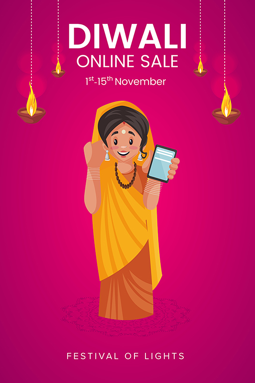 Happy Diwali banner design with a woman showing mobile phone sale offer