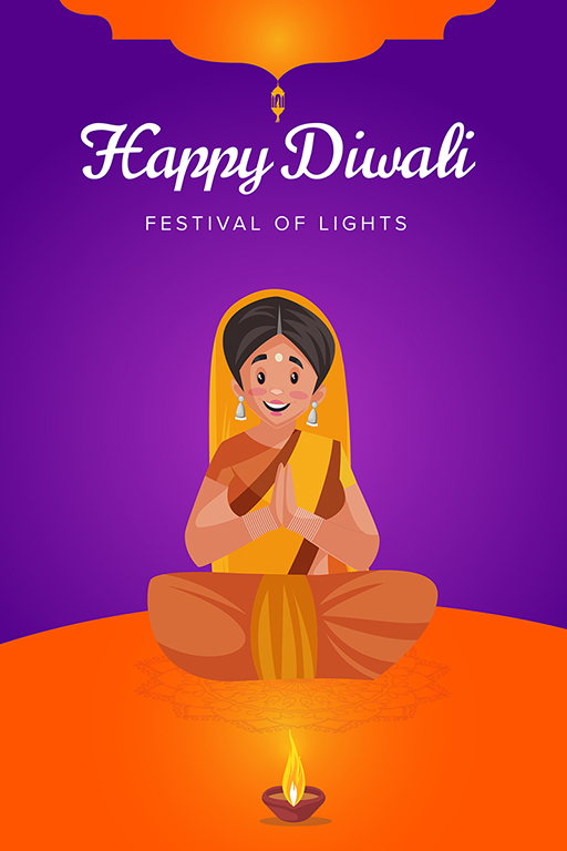 Happy Diwali banner design with woman worship on the festival