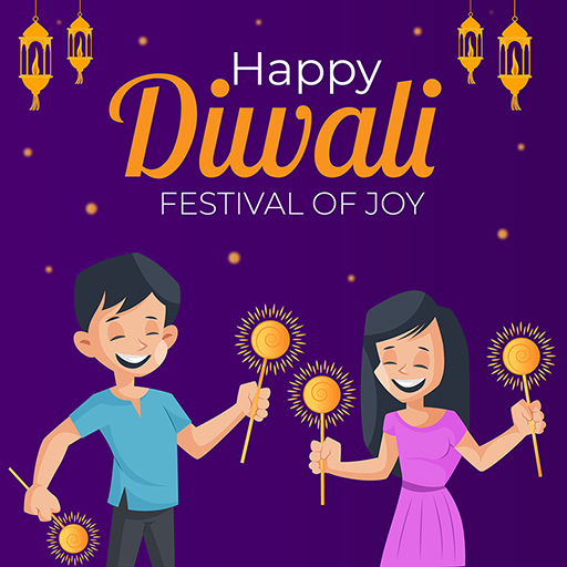 Banner design of Happy Diwali with children celebrating the festival with sparkles