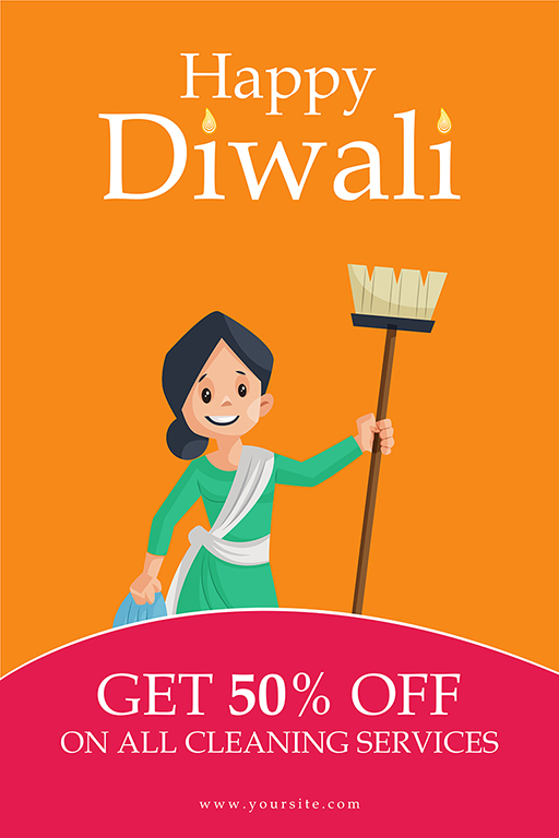 Happy Diwali banner design woman with house cleaning equipment