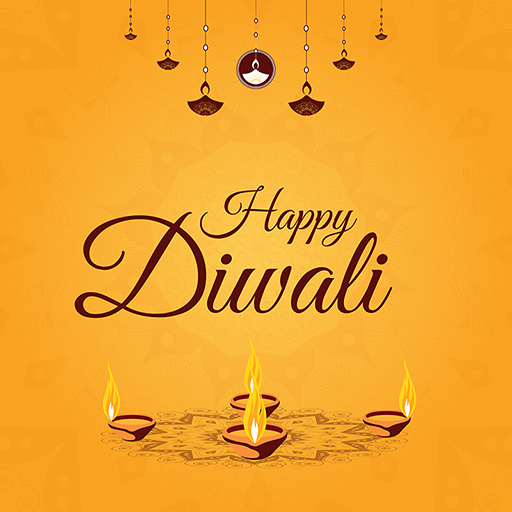 Banner design template of Happy Diwali with colorful burning lamps