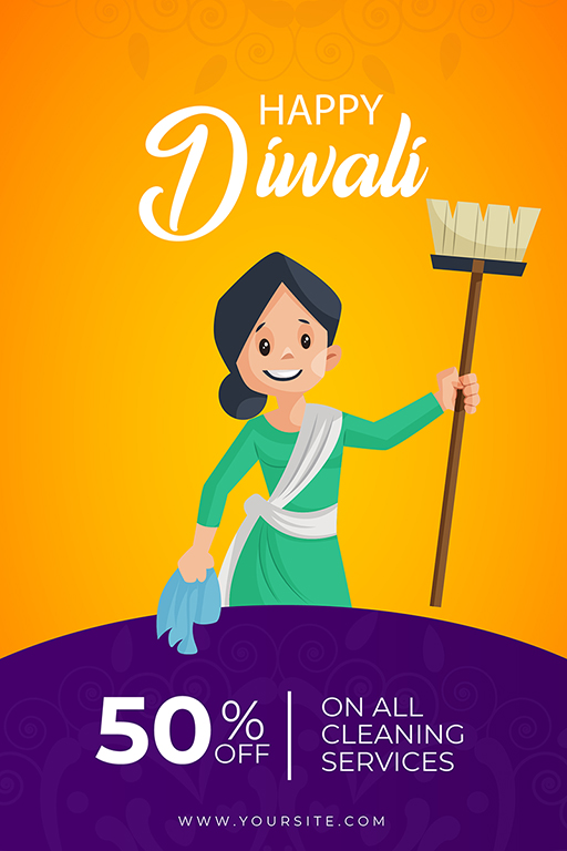 Banner design of Happy Diwali with a woman holding house cleaning equipment