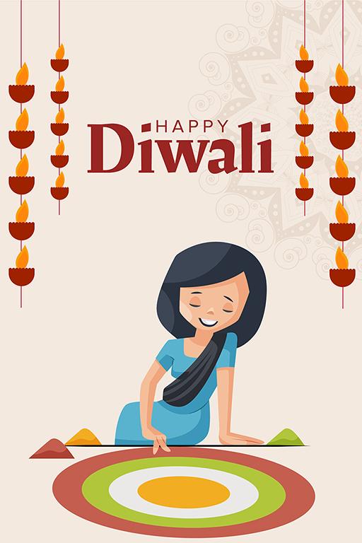 Happy Diwali banner design with a girl making rangoli on the floor