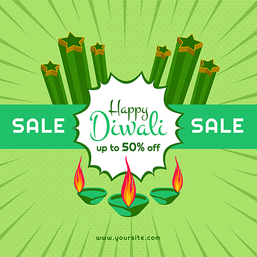 Banner design of Happy Diwali sale offer with burning lamps