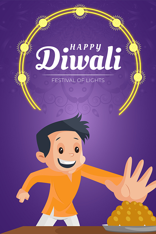 Banner design of Happy Diwali with a boy taking sweets on festival