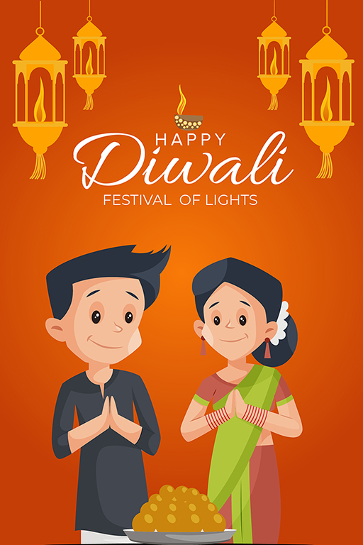 Banner design of Happy Diwali with couple worship on the festival