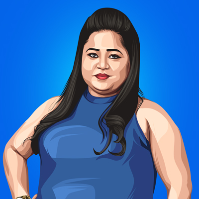 Bharti Singh Indian Comedian Vector Portrait Illustration