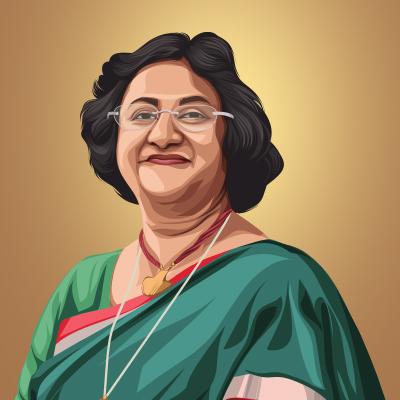 Arundhati Bhattacharya Indian Banker Vector Portrait Illustration