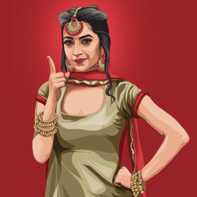 Bhumika Sharma Indian Model, Film Actress Vector Portrait Illustration
