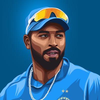 Hardik Pandya Indian International Cricketer Vector Portrait Illustration