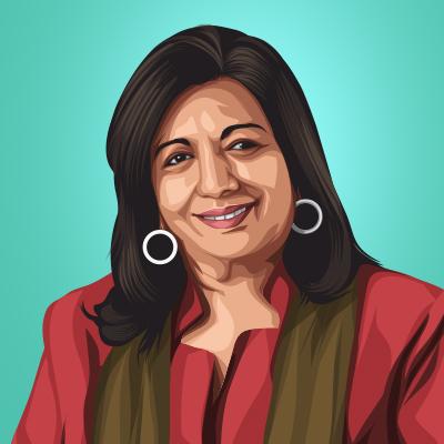 Kiran Mazumdar Shaw Chairperson of Biocon Vector Portrait Illustration