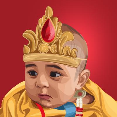 Little Krishna Vector Portrait Illustration