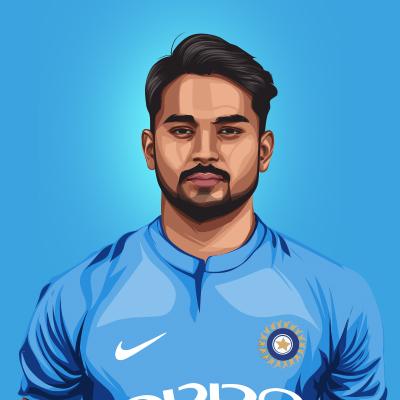 Manish Pandey Indian International Cricketer Vector Portrait Illustration