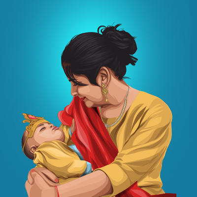 Mother and Son Vector Portrait Illustration