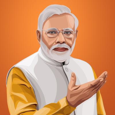 Narendra Modi Prime Minister Of India Vector Portrait Illustration