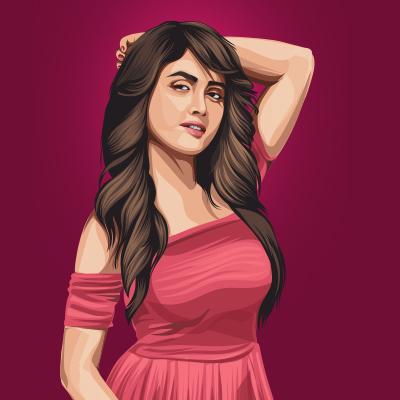 Nisha Guragain Indian Tiktoker Social Media Star Vector Portrait Illustration