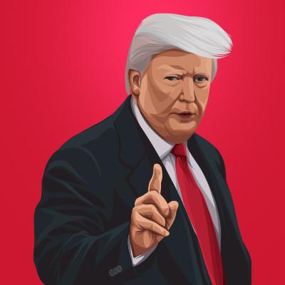 Donald John Trump 45th President Of United States Vector Portrait Illustration