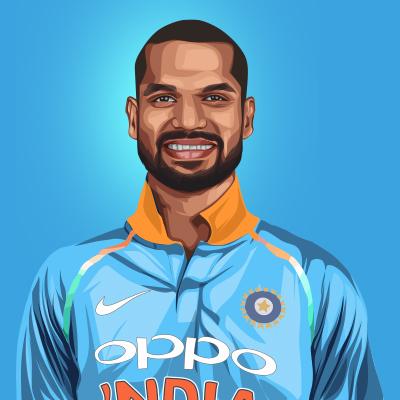 Shikhar Dhawan Indian International Cricketer Vector Portrait Illustration