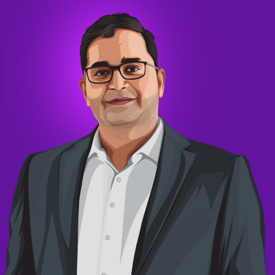 Vijay Shekhar Sharma Indian Billionaire Businessman Vector Portrait Illustration