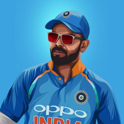 Virat Kohli Indian International Cricketer & Captain Vector Illustration