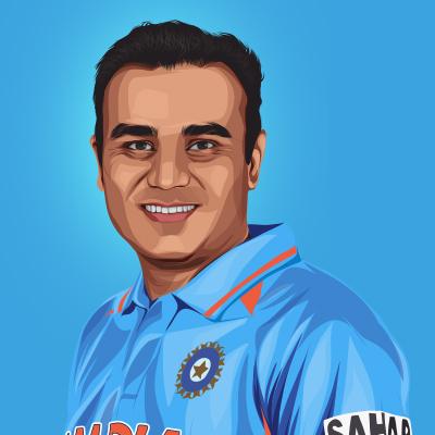 Virender Sehwag Indian International Cricketer Vector Portrait Illustration
