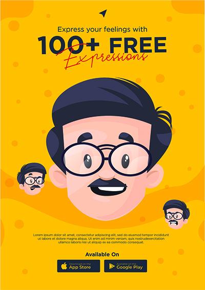 Flyer design template for mobile app store
