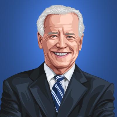 Joe Biden 46th President Of United States Vector Portrait Illustration