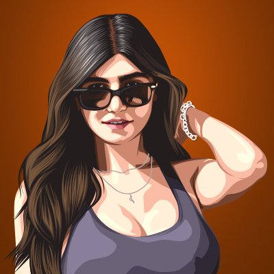 Mia Khalifa Pornographic Actress and Webcam Model Vector Portrait Illustration