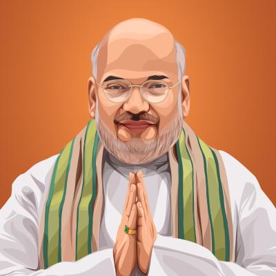 Amit Shah Member Of The Lok Sabha Vector Portrait Illustration
